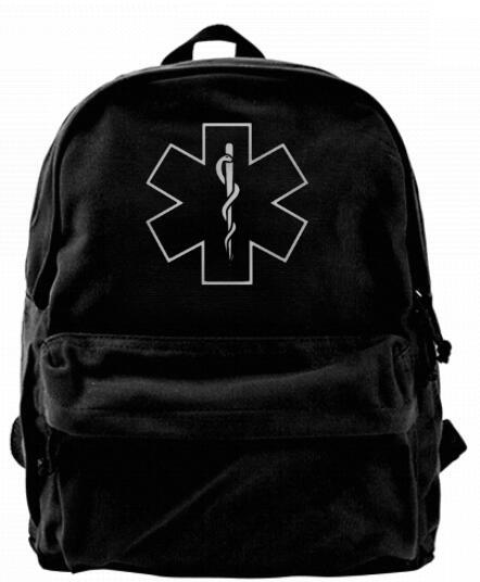 dbbfb9f38da2 Star of Life Medical Fashion Canvas designer backpack For Men   Women Teens  College Travel Daypack Leisure bag Black