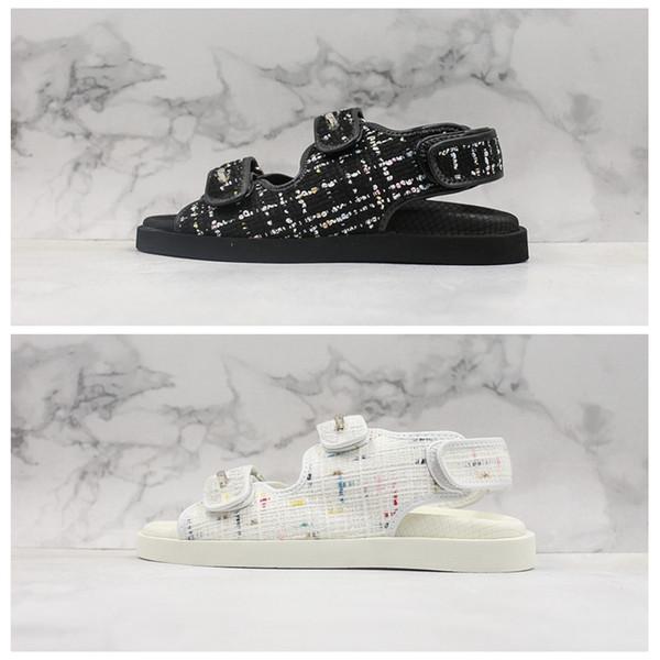 19SS nouveau sandales en laine sandales chaussures pantoufle sabot sandalias toboggan glisse la mode d'été large sandale plat femmes pantoufle bascule