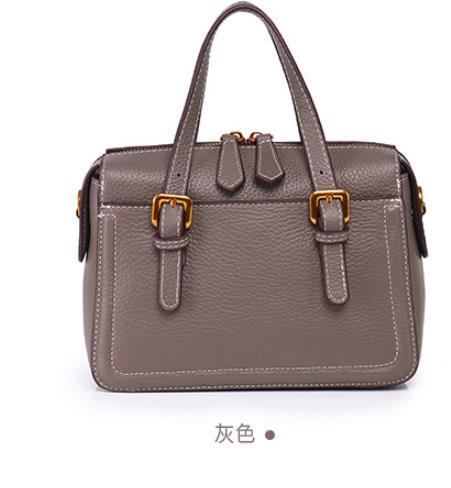 2019 new casual atmosphere handbags leather ladies handbags simple personality first layer leather shoulder Messenger bagGrey