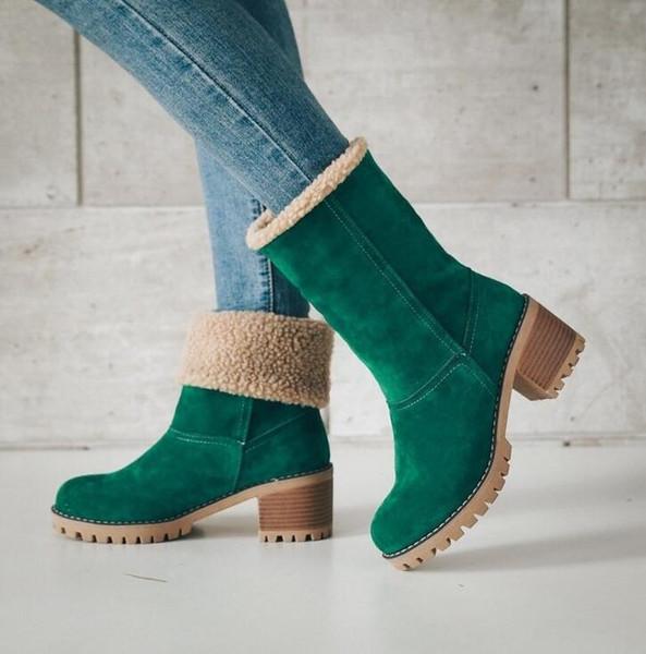 Women Boots Winter outdoor keep Warm Fur Boots Waterproof Women's Snow Boots Thick heel with round head short boot