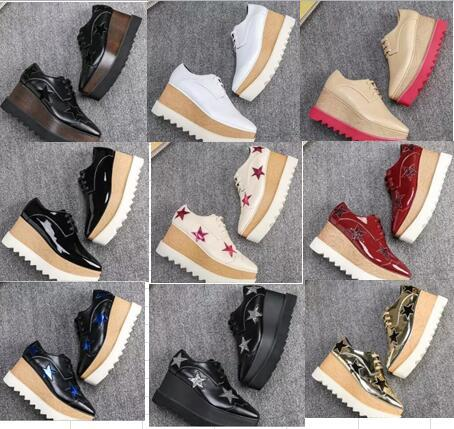Nueva Llegada de la Marca Italiana Stella Shoes McCartney Mujer Causal mujer Zapatos Estrellas Cuñas Suela plataforma de Cuero Genuino n04