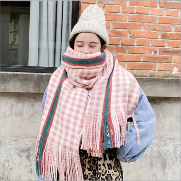 New Style Designer de Moda Inverno Mulheres Pashmina malha espessamento cachecóis Quentes Rainbow Stripe Tassel xale