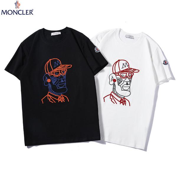 2019 neue heiße Männer und Frauen Modelle Sommer zweifarbige Rundhals Herren Pailletten Stickerei Mode Paar Kurzarm T-Shirt