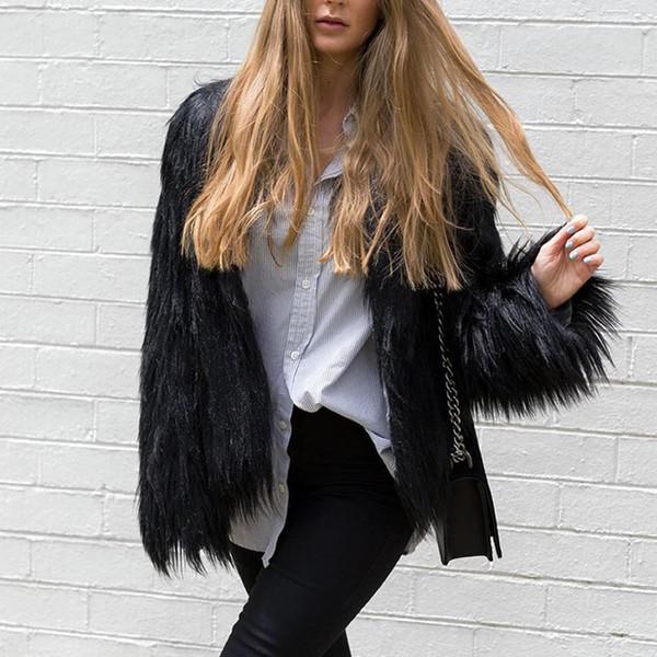 Furry Fur Coats Donna Fluffy Warm Manica lunga Capispalla Coat Giacche Hairy Collarless Overcoat Casaco Feminino Plus Size 3xl