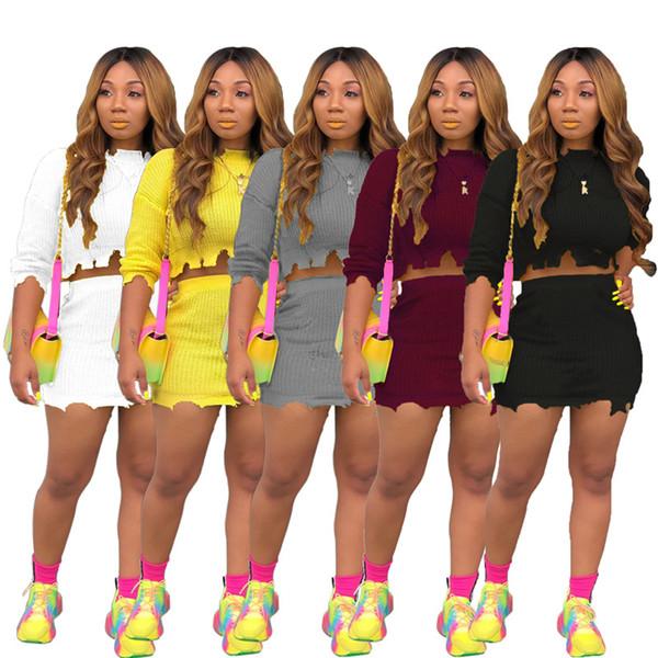 Frauen strickten 2 Stück Kleider Pullover + Röcke Outfits Ripped Long Sleeve + Minikleider Trainingsanzug Plus Size Herbst Winter Freizeitkleidung 1045