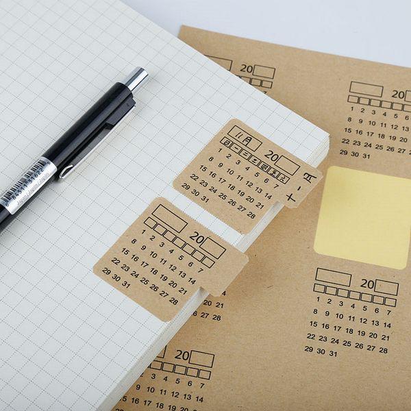 best selling 40 Sheets 2020 Kraft Paper Handwritten Calendar Notebook Index Label Sticker Calendar Sticker Organizer Kawaii Stationery
