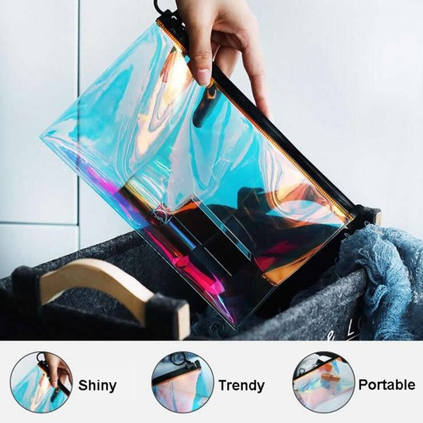 Mode Paillette Transparente Kosmetiktasche Reisereißverschluss Make-Up Fall Veranstalter Aufbewahrungstasche Make-Up Kulturbeutel Beauty Wash Kit