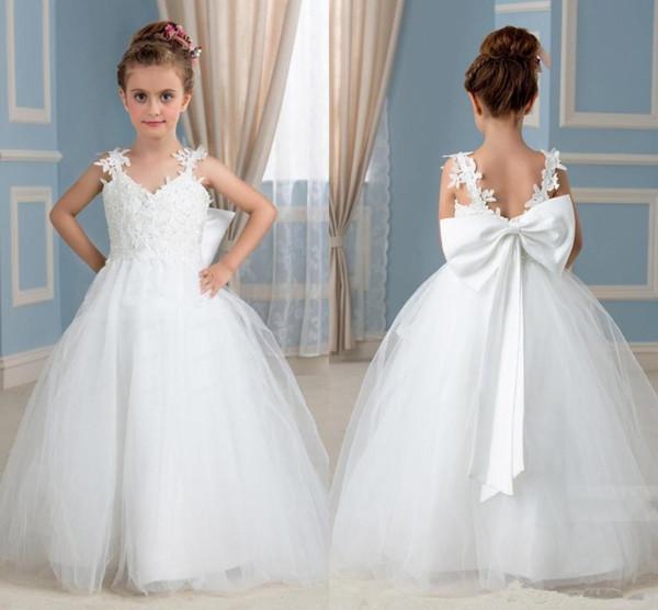 Maßgeschneiderte neue weiße Spitze Ballkleid Blumenmädchenkleider mit Perlen bodenlangen Tüll wenig Kommunion Mädchen Pageant Kleider für Hochzeiten