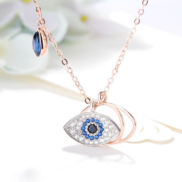 2019 Top quality Sterling silver 925 and brand name CZ Crystal diamond EVIL EYE Chain Sun Flower necklace with Brand Name Chain pendant