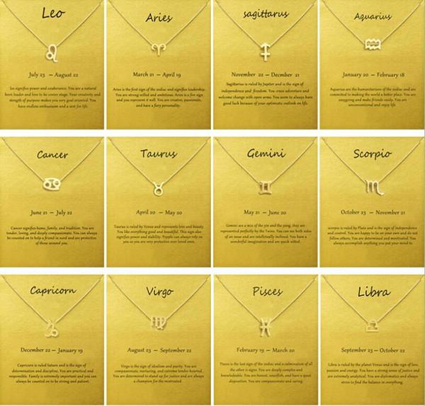 Logotipo de la moda Sin Dogeared con la tarjeta de la muestra del zodiaco de la cadena chapado en oro de Leo / Aries / Virgo Colgante Collar Gargantilla mujeres clavícula regalo de la joyería