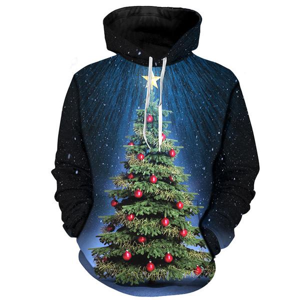 Cloudstye Men Christmas Clothes 2018 Fashion Hoodies Brand Tops 3D Full Printing Xmas Tree Funny Pullover Winter Sweatshirt Hood