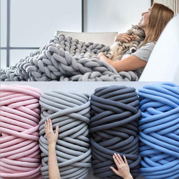 best selling 1000g Super Thick Chunky Yarn Cotton Tube Yarn Merino Wool Alternative DIY Bulky Arm Knitting Blanket Hand Knitting Spin Yarn T200601