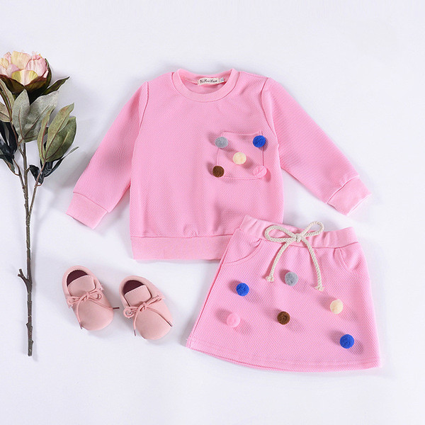 Spring autumn clothing girls clothes set 2pcs long sleeved pompon pocket cotton tops and lace up pink skirt suits fashion children kids sets