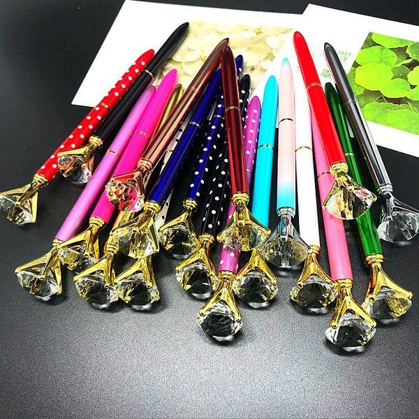 2019 new hot beautiful carat diamond Crystal Gem Ballpoint pen wedding office Metal ring roller ball pen office supplier free shippment
