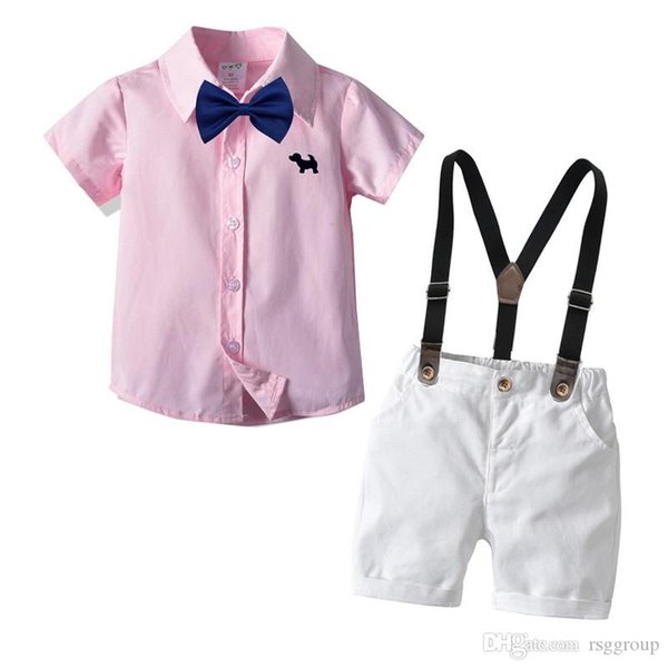 INS Casual Summer Kids Boys Casual Clothing Suits Pink Shirts + Bow Tie + Belt + Pants 4pieces Set Children Boys Designer Clothes for 1-6T