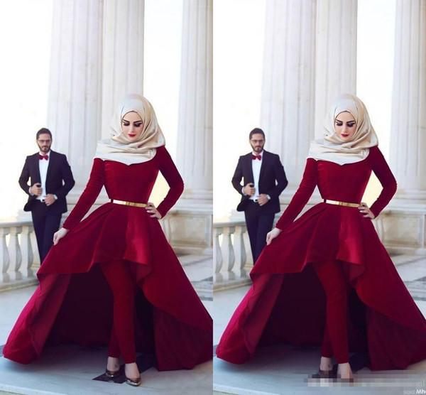Long Sleeves Arab Muslim Evening Dresses Middle East High Neck Gold Sash Hi Lo Velvet Formal Party Dresses with Pants Arabic Dresses