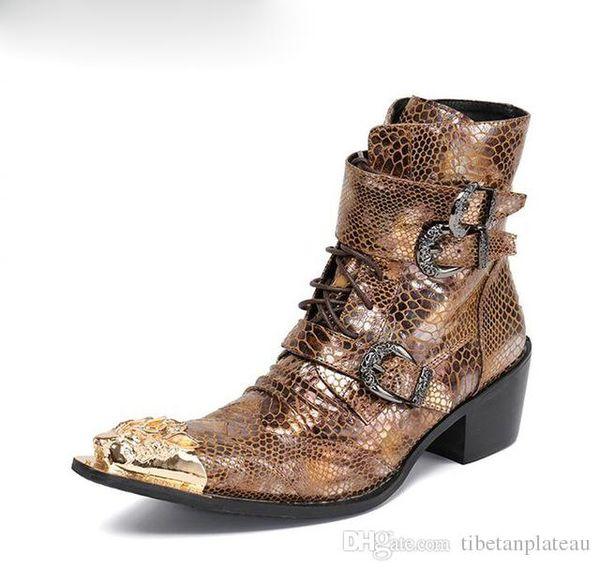 Mollet Cowboy De Peau Mi Hommes Habillées Véritable Acheter Serpent En Chaussures Style Moto Britannique Bottes Cuir D9IWEH2