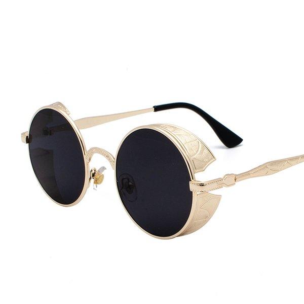 qiansu Metal Sunglasses Uomo Donna Moda Occhiali Small Retro Vintage Occhiali da sole UV400 Eyewear Sport Hip Hop Steampunk Glasses