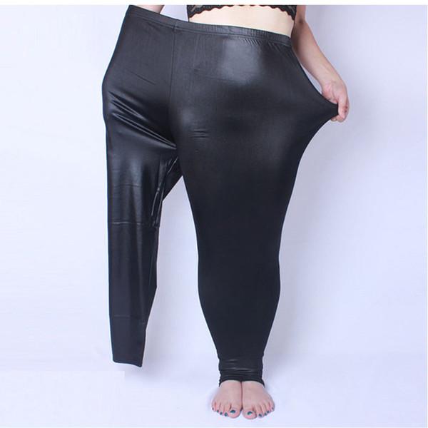 Leggings Fake Leather Plus Size 5xl Big Sizes Clothing Large Slim Legging Pants Women Leggins Black Q190510