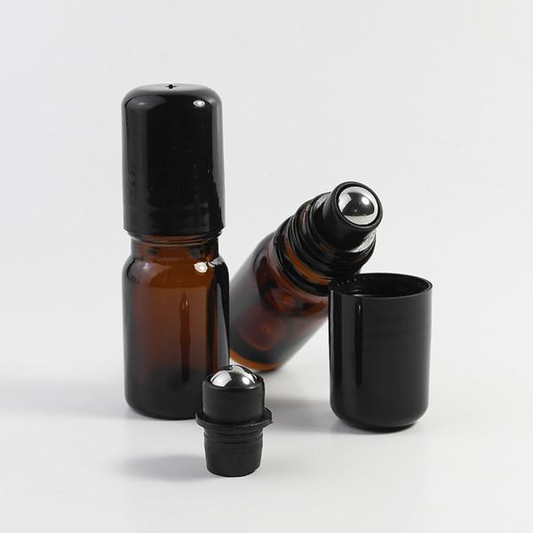 5ml 10ml Bernstein Ätherisches Öl Rollerflaschen Container Dickes Glas Roll On Öl-Flaschen Stahlmetall Roller Ball Parfümflaschen Container