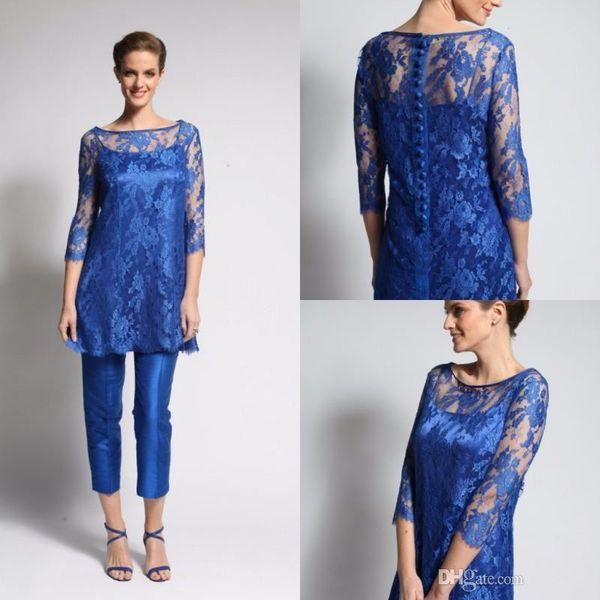 Royal Blue Pants Suit Mother Of The Bride Dresses 3/4 Long Sleeve Tea Length Evening Gowns Plus Size Wedding Guest Dresses