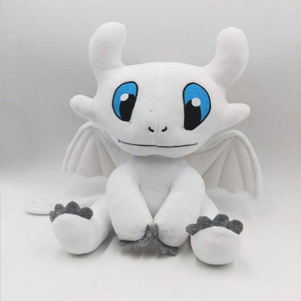 top popular 25cm (9.84inch) How to Train Your Dragon 3 Plush Toy 2019 New movie Toothless Light Fury Soft White Dragon Stuffed Doll Christmas Gift B 2019