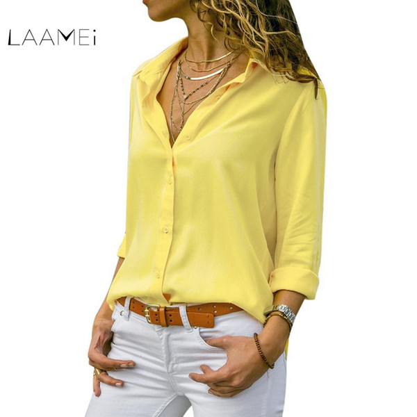 laamei spring women chiffon blouse long sleeve v-neck solid shirts ladies plus size office work casual white blouse