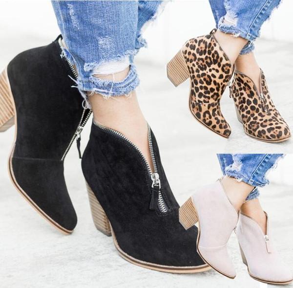 Outono Mulheres Botas Tornozelo Impressão Tornozelo Senhoras Sapatos Dedo Apontado Robusto Saltos Grossos Zíper Botas de Casamento Do Vintage Casuais