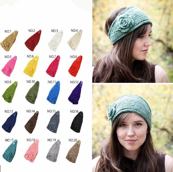 32 color knitting wool Woolen Crochet hair band winter warm camellia Flower women girl children Headbands headwear fashion Europe T1I1110