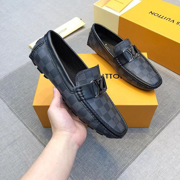 19ss Newst Italian Quality Real Leather Cowhide Men Casual Shoes Luxurious Designers Oxford Mocassin Dress Shoes Zapatos Hombre 40-46 iduzi