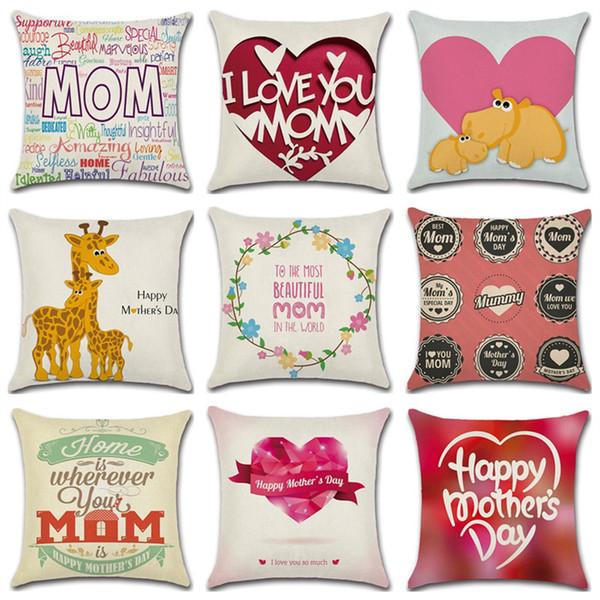 Día de la madre almohadas caso carta impresión funda de almohada 45 * 45 cm sofá siesta cojines cubre caliente decoración del hogar 32 estilos C6202