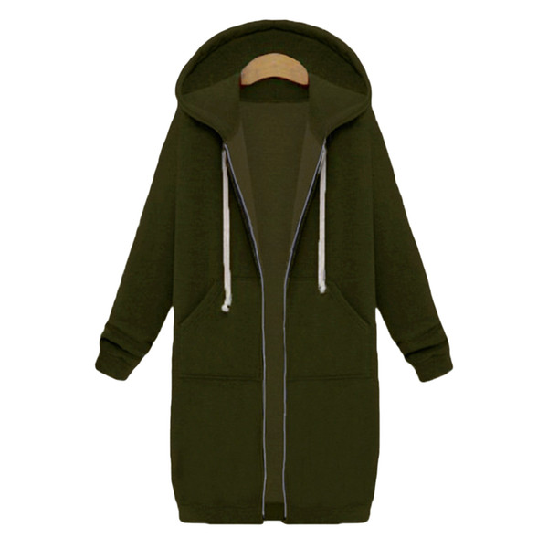 Fashion-digan Sweatshirt Harajuku Women Long Hoodies Zipper Hooded Sweatshirt Autumn Winter Coat Outerwear Casual Female Jacket