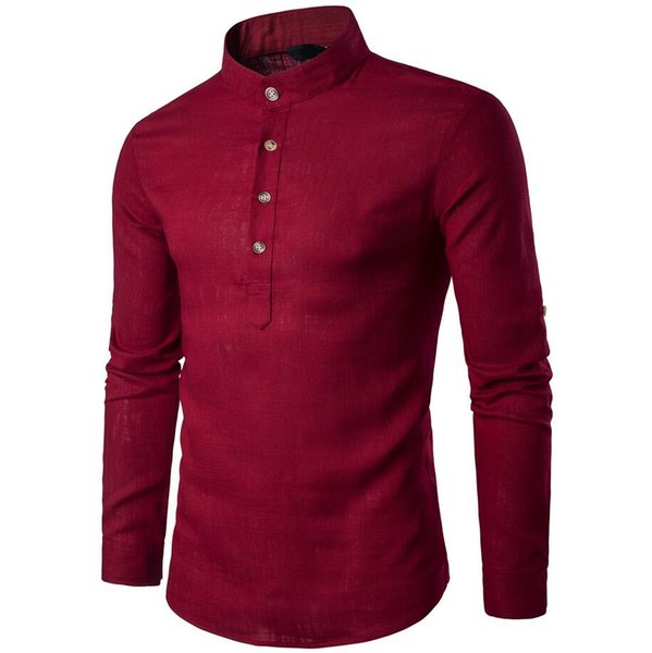 2019 Europe and the United States hot fashion new men's solid color long-sleeved shirt stand collar linen shirt free shipping