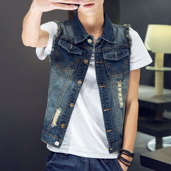 New Men 's Fashion Denim Vest Jeans Gilets Slim Fit Veste sans manches, plus la taille Printemps Nouveau Style Denim Vest hommes Male coréen Ver