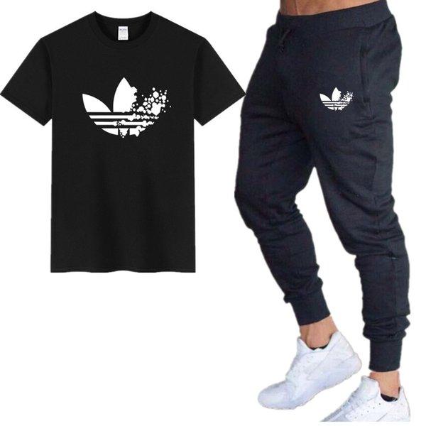Logo de la marque T-shirts + pantalons hommes Ensembles coton tshirt Survêtement Deux pièces Mode Casual T-shirts Hip-hop Pour Homme T-shirt tops
