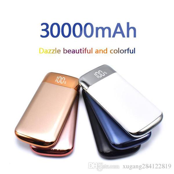 NOVO banco do poder bateria externa 30000 mah banco de potência 2 usb lcd powerbank carregador de telefone celular portátil bateria externa