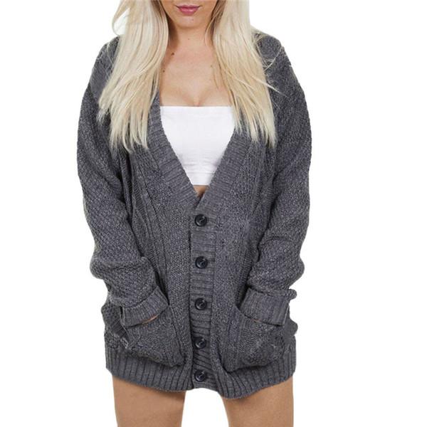 Button Casual autunno e inverno con Pocket Womens Batwing manica lunga sciolto maglione a maniche lunghe casual cappotto camicetta