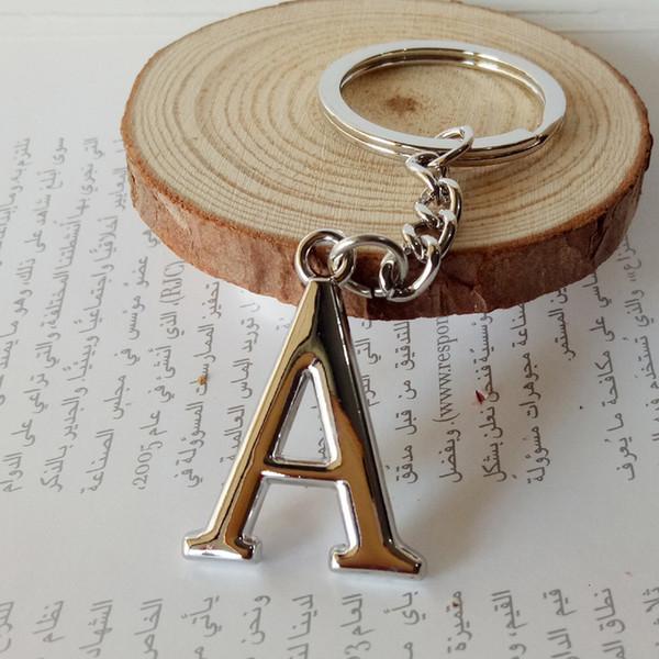 Regalo del partito dell'automobile Diy A-Z catena lettere chiave per gli uomini d'argento di Keychain del metallo portachiavi auto Donne Simple Chain Letter Nome chiave