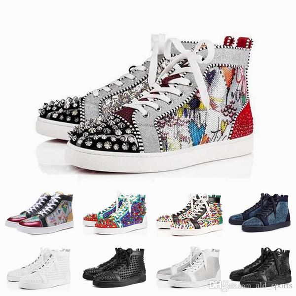 2019 Tasarımcı Marka Çivili Spike Flats ayakkabı Kırmızı Dipleri ayakkabı Graffiti Baskı Mens Womens Parti Severler Hakiki Deri Sneakers