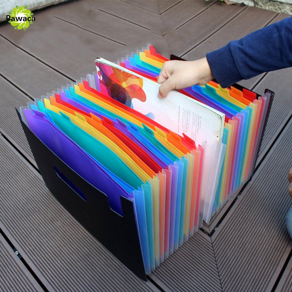 New 24 Pockets Expanding File Folder Portable Accordion File Folder A4 Expandable Business Organizer with Label Classify