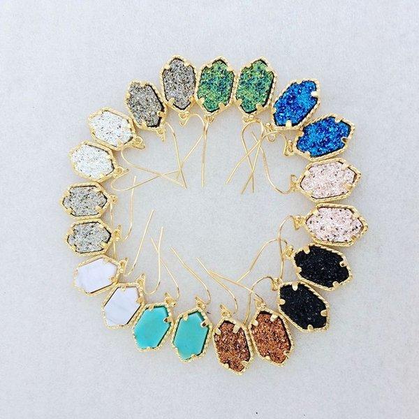 best selling Gold Kendra Style Earrings Sets Geometric Natural Druzy Dangle Earrings Luxury Designer Earrings For Women Party Jewelry
