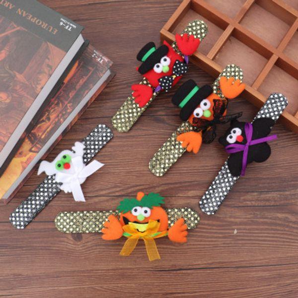 Хэллоуин тыква паттированные браслеты летучая мышь призрак пощечину браслеты свет блестки браслет браслет рождественские украшения поставки