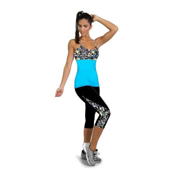 3pcsKlv Calf-length Capri Short Sport Leggings Women Fitness Yoga Gym High Waist Legging Girl Black Mesh 3/4 Yoga #@% C19041101