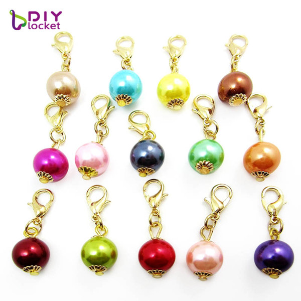 "Fashion Charms 20PCS ""Pearl""dangles necklace pendants fit floating charm Origami owl locket with Lobster clasp LSFE02*20"