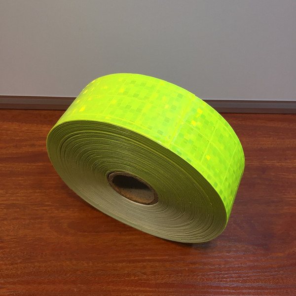top popular 5CM*50M Fluorescent Green Flashing Reflective PVC Tape Sewing For Garment Shoes Bag Accessories for Road Traffic Safety Apparel 2021