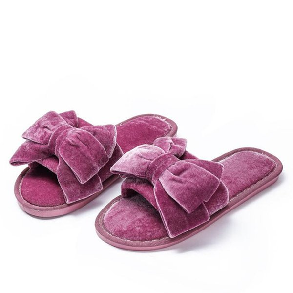 Women Winter Autumn Home Slippers Ladies Big bow Shoes Non-slip Soft Warm Slippers Indoor Bedroom Loves Couple Floor Shoes