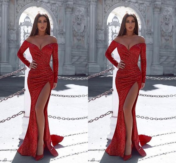 best selling Sparkly Front Side Split Red Long Sleeves Prom Dress V Neck Full Sequins Evening Gown Custom Made Homecoming Party Cocktail Club Wear