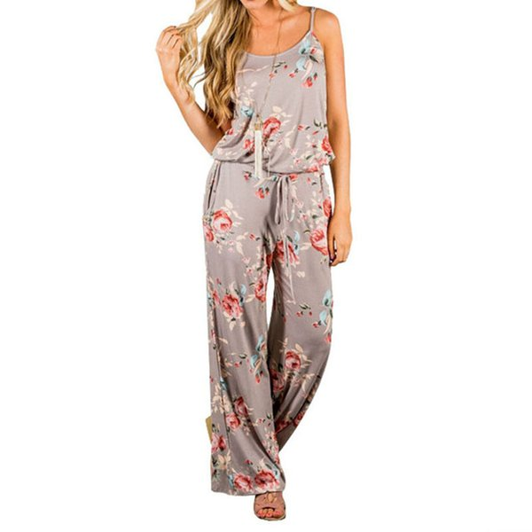 Kawaii Floral Women Jumpsuit Fashion Spaghetti Strap Long Playsuits Casual Beach Pantaloni larghi Tute Tute