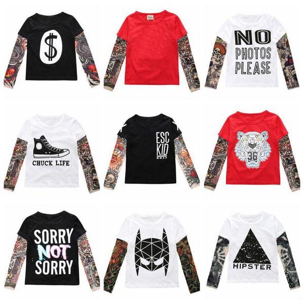 Kids Clothes Boys Tattoo Hip Hop T-shirts Ins Baby Long Sleeve Tops Casual Streetwear Tees Fashion Printed Tees Cotton Sashimi Shirt B5084