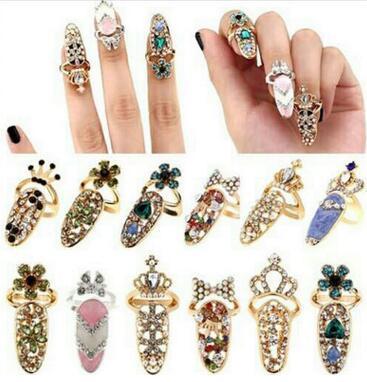 Fashion rhinestone Diamonds crown armor Fingernails Band Ring Women Accessories hot